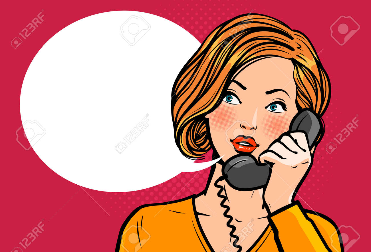 Girl or young woman talking on the phone. Telephone conversation. - 114528833