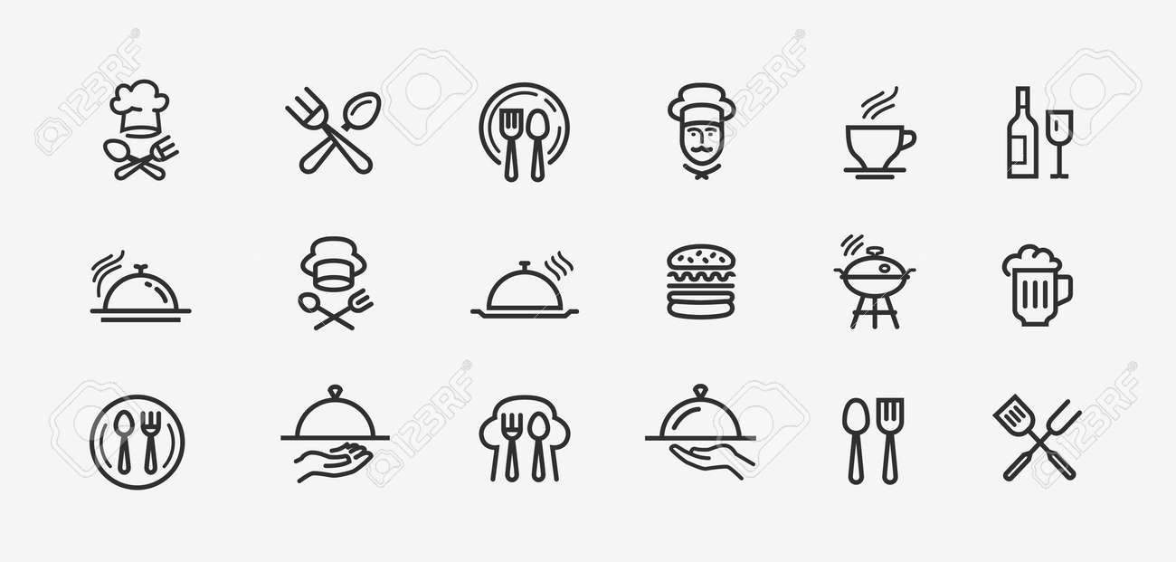 Collection vector black outline logo for mobile apps web or site design - 130492297