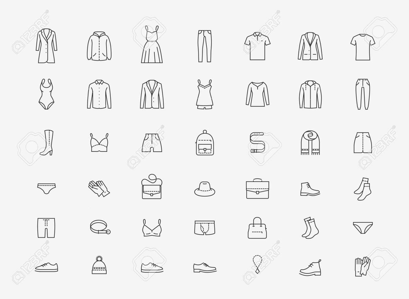 Clothing icon set in linear style on white - 135628944