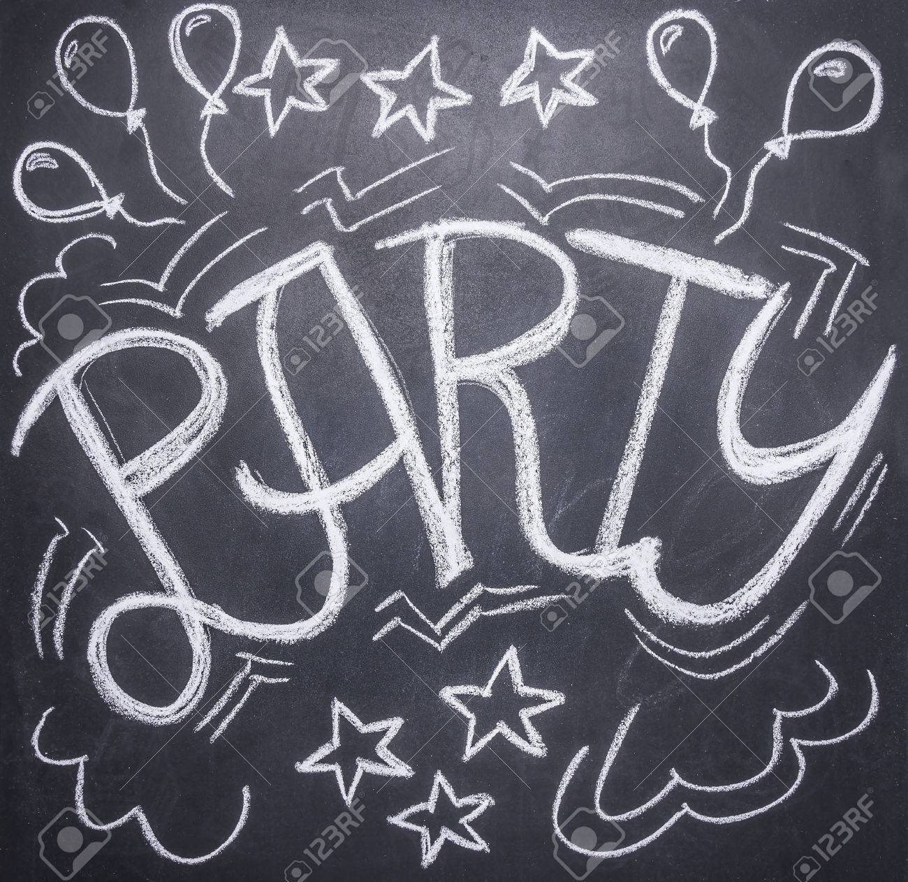 drawings on the chalkboard on the theme of the party balloons