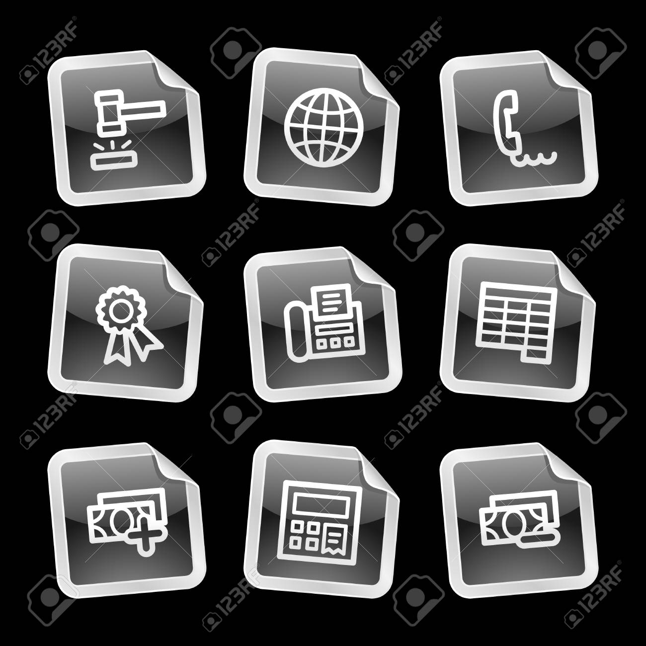 Finance 2 icons, black glossy sticker series Stock Vector - 3585282