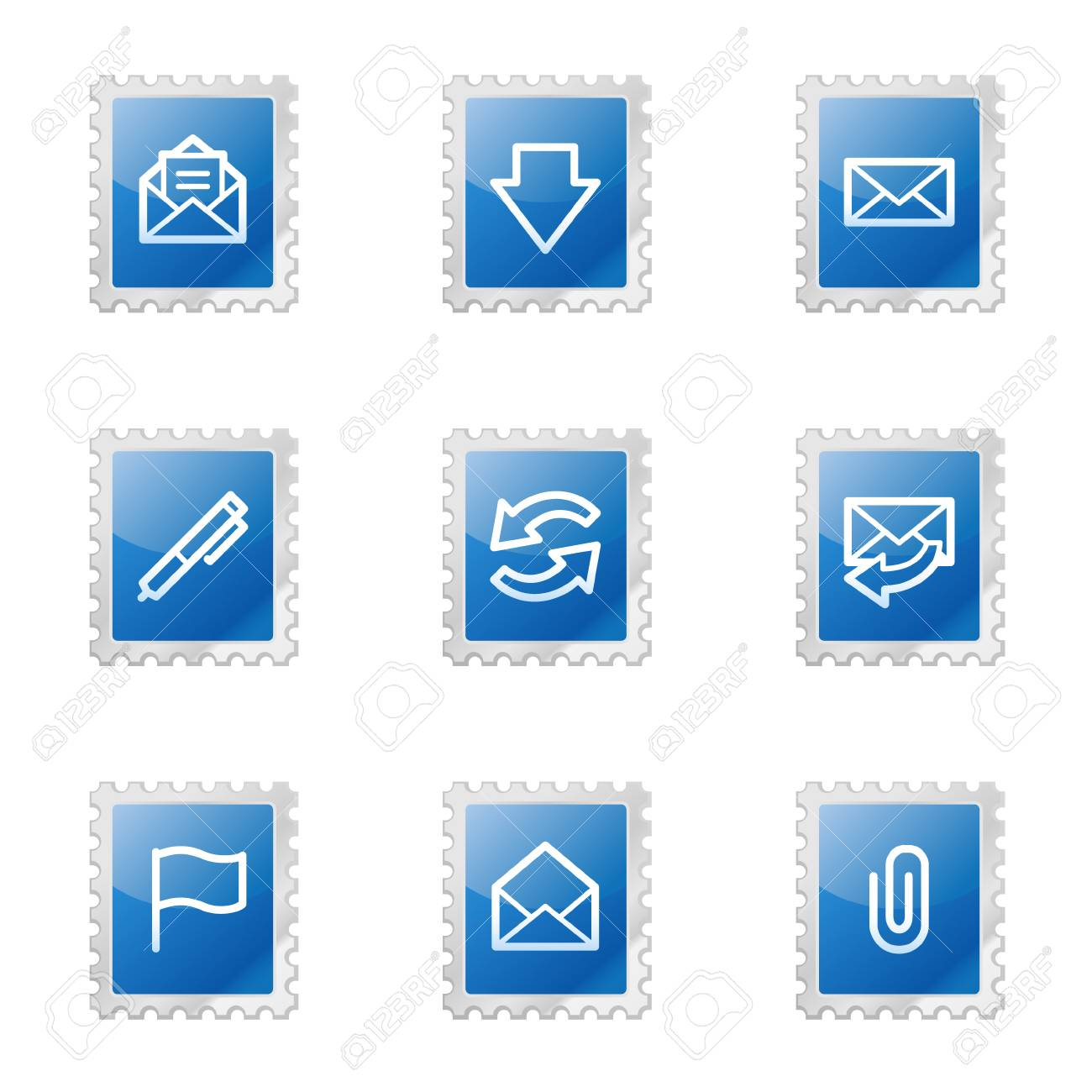 E-mail web icons, blue glossy stamp series Stock Vector - 3585209