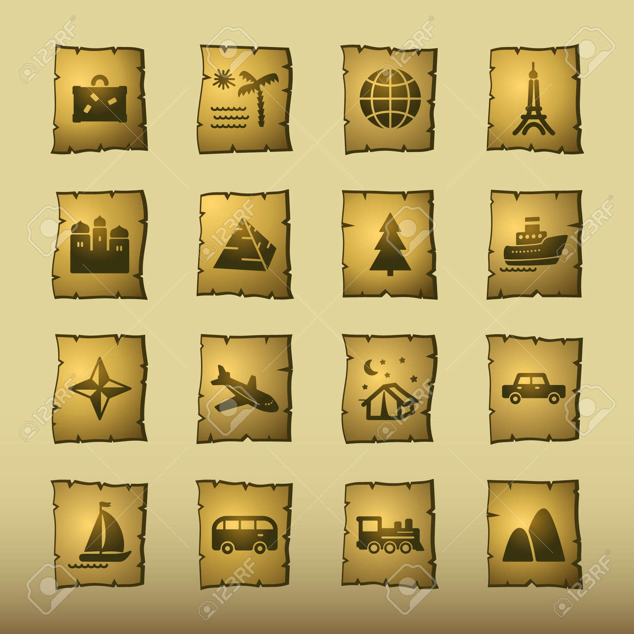 papyrus travel icons Stock Vector - 3640778
