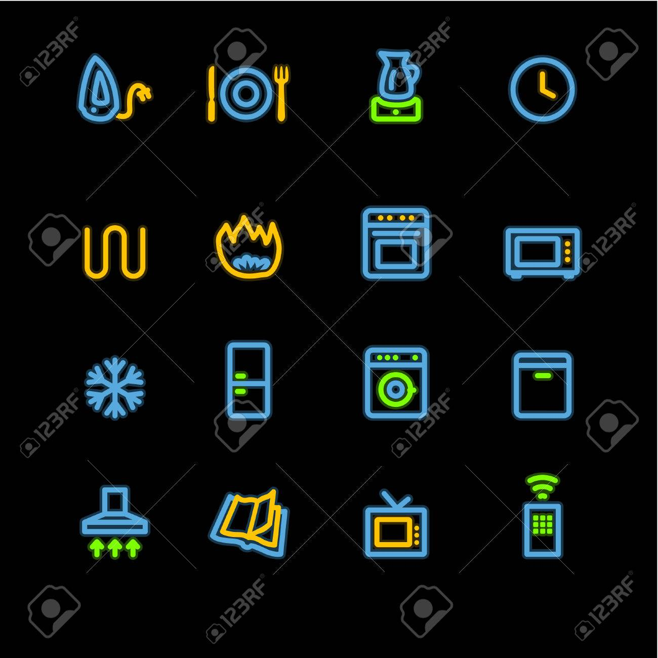 neon household appliances icons Stock Vector - 3644581