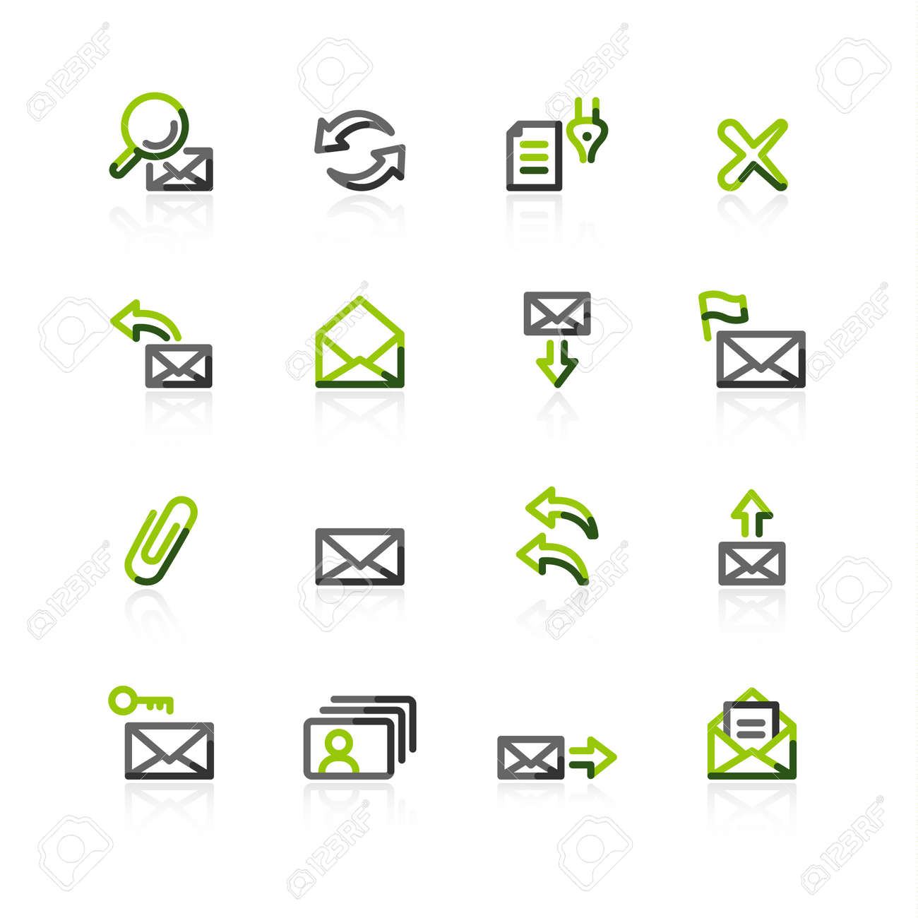 green-gray e-mail icons Stock Vector - 3644580