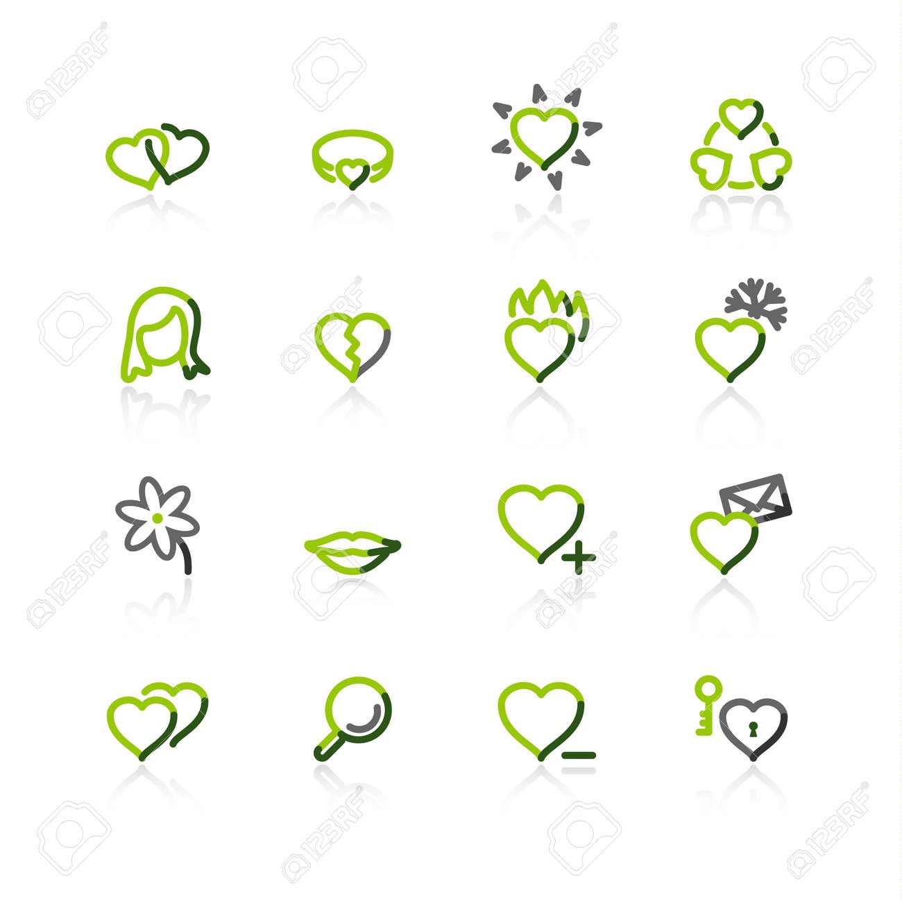 green-gray love icons Stock Vector - 3644573