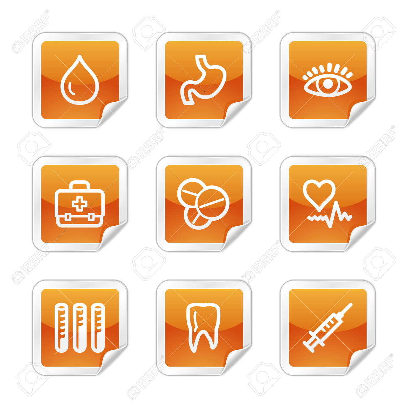 Medicine web icons, orange glossy sticker series Stock Vector - 3678257
