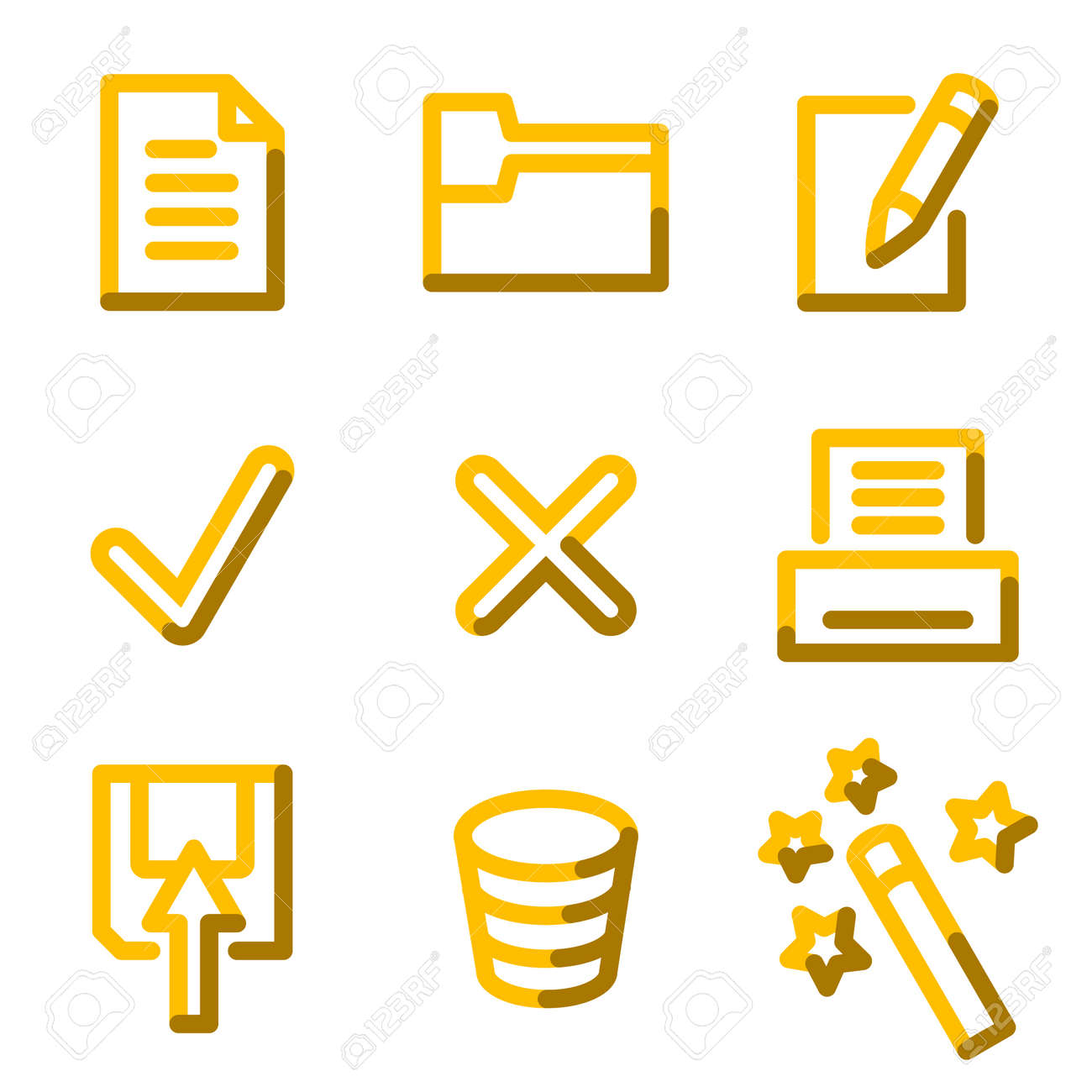 Document 2 icons, gold contour series Stock Vector - 3691772