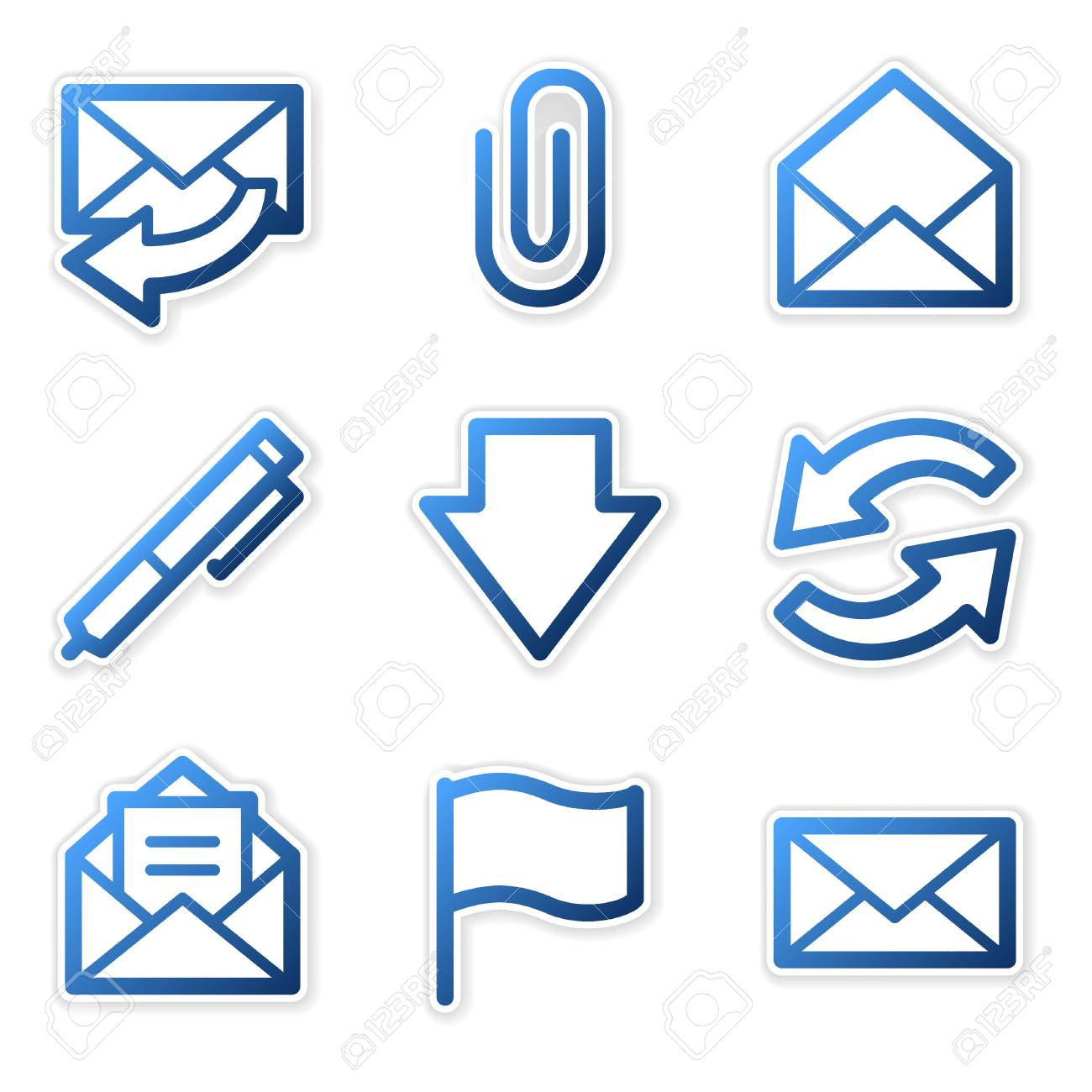 E-mail icons, blue contour series Stock Vector - 3754639