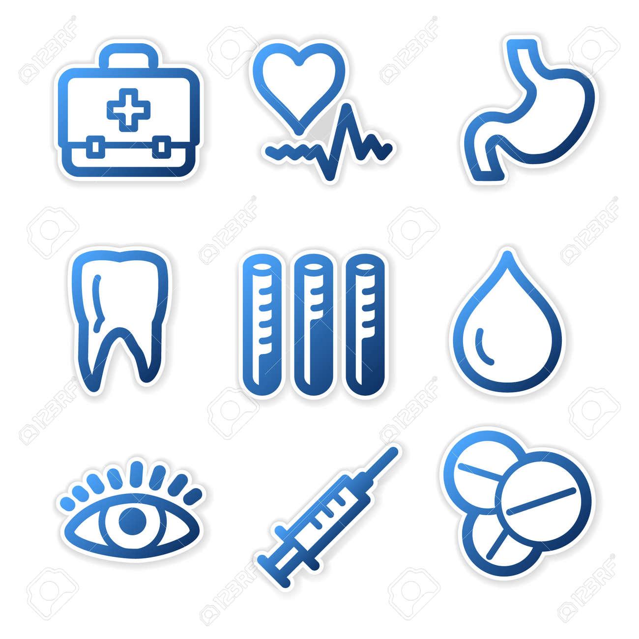 Medicine icons, blue contour series Stock Vector - 3754650