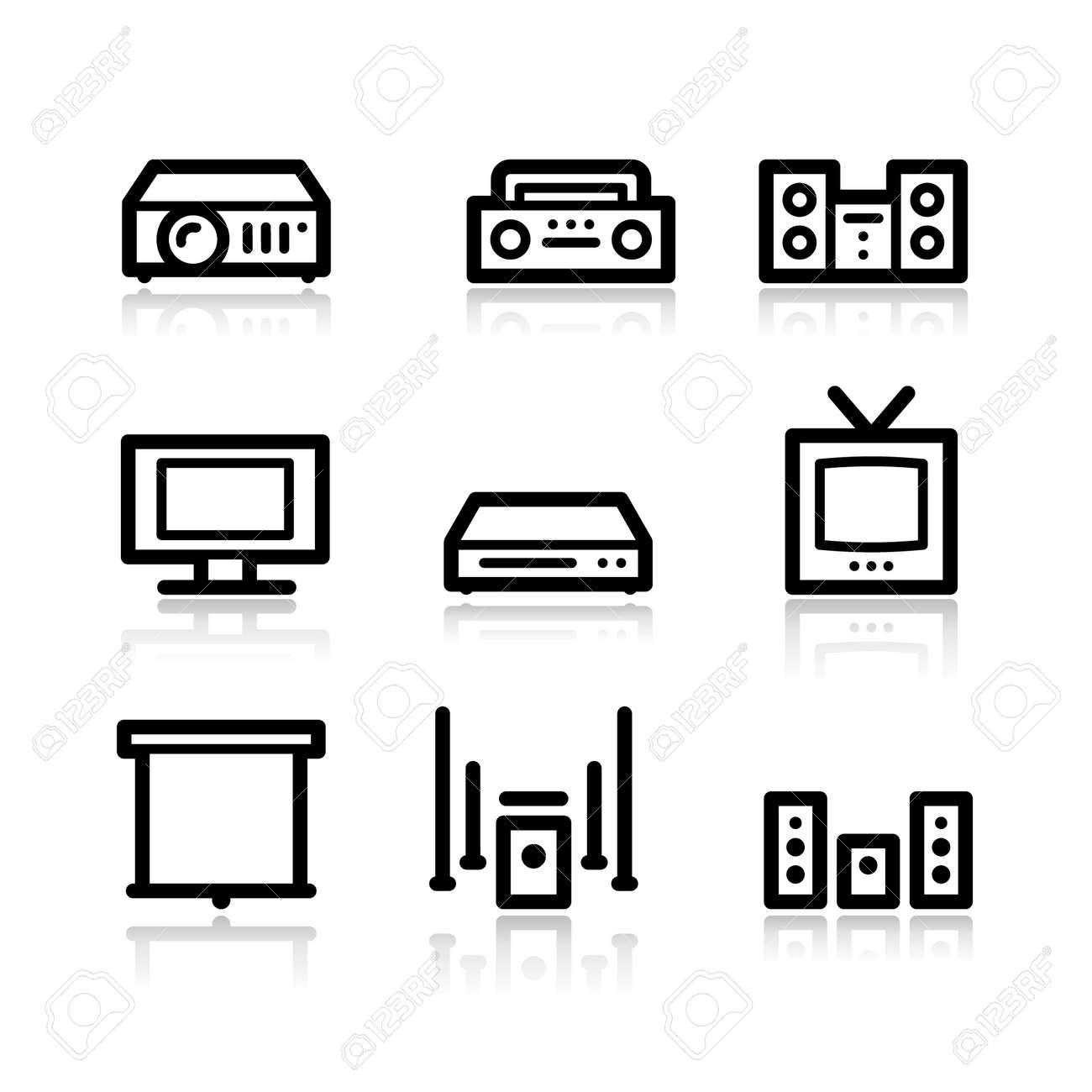 Audio video black contour web icons V2 Stock Vector - 3754817