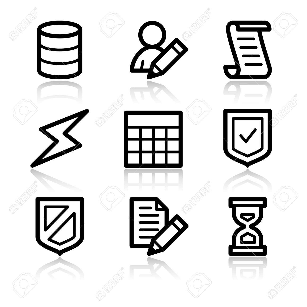 Database black contour web icons V2 Stock Vector - 3754813