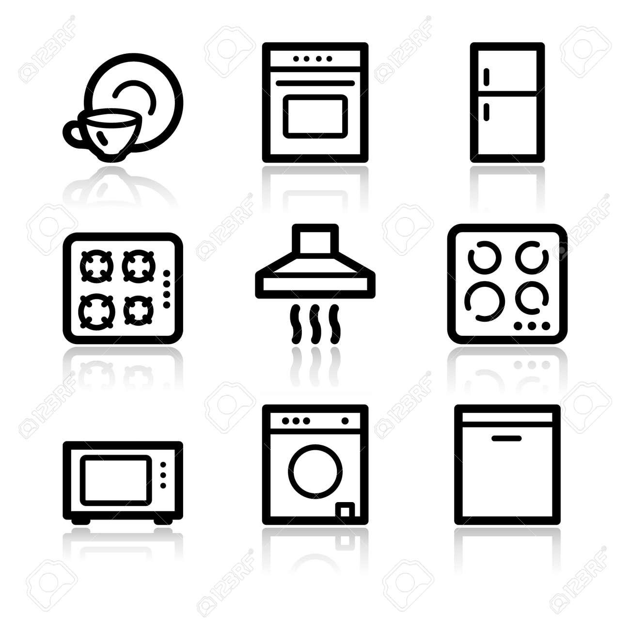 Home appliances black contour web icons V2 Stock Vector - 3754881