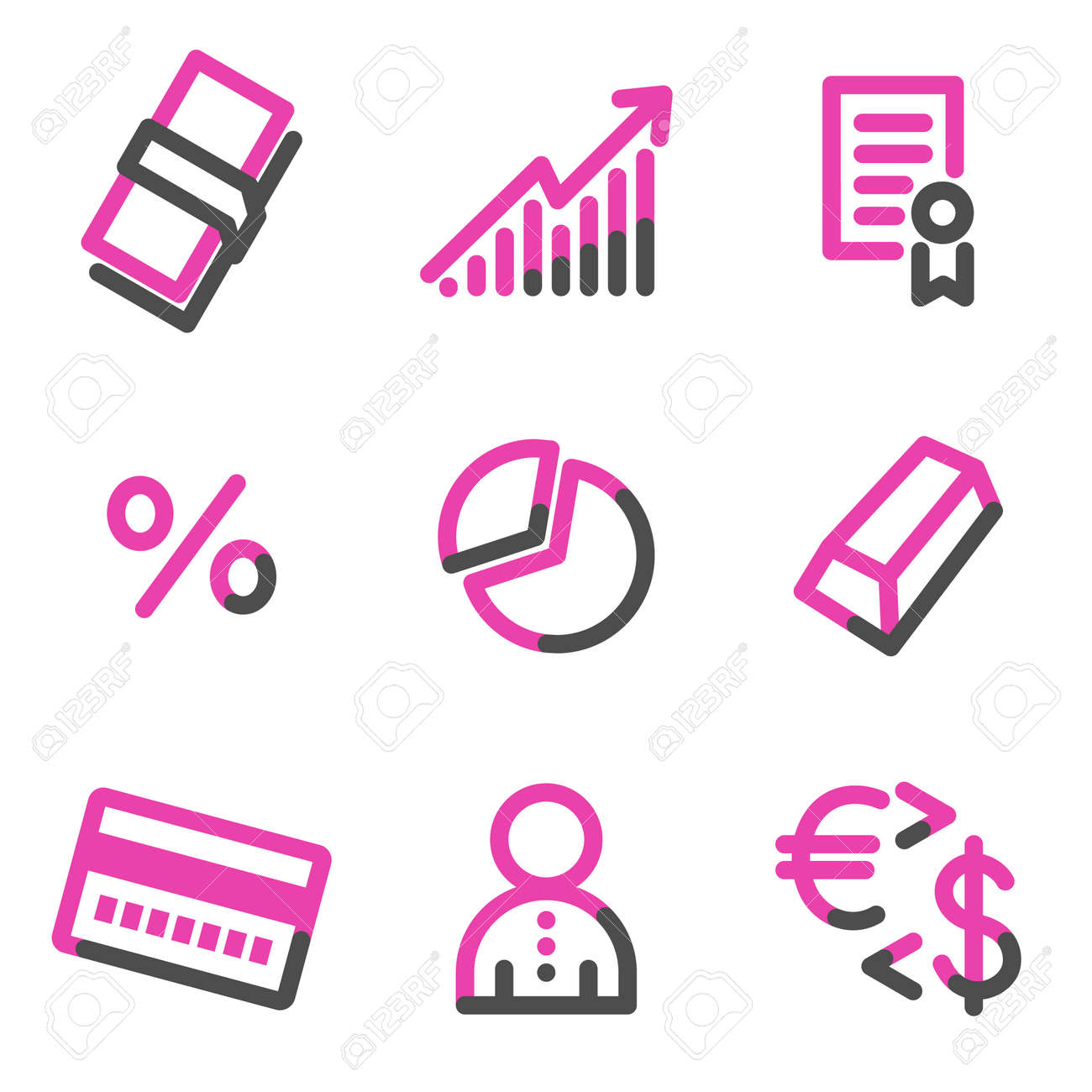 Money web icons, pink contour series Stock Vector - 3754801