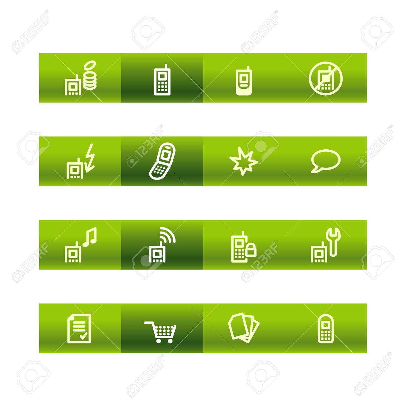 Green bar mobile phone icons Stock Vector - 3793201