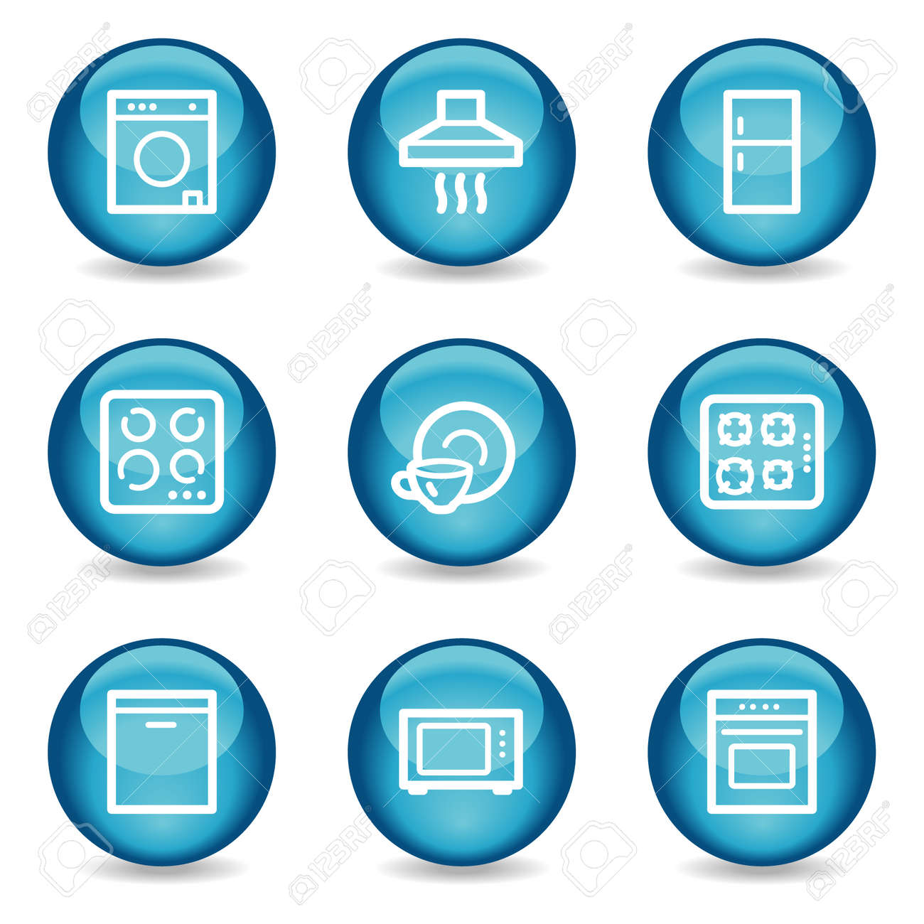 Home appliances web icons, blue glossy sphere series Stock Vector - 3865583