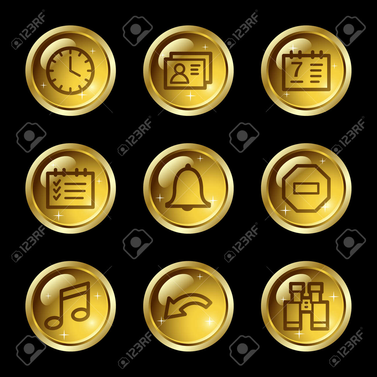 Organizer web icons, gold glossy buttons series Stock Vector - 4155441