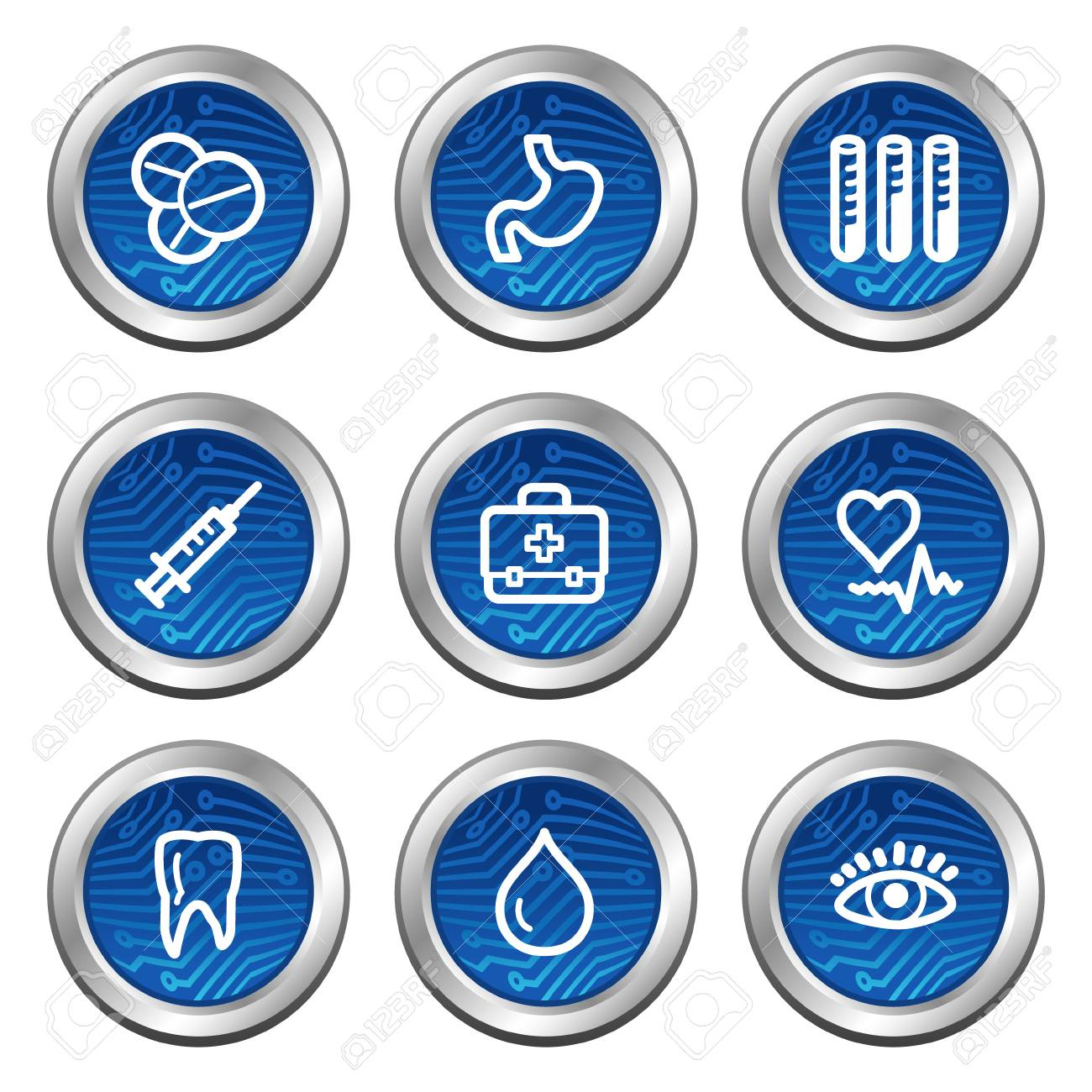 Medicine web icons, blue electronics buttons series Stock Vector - 4222384