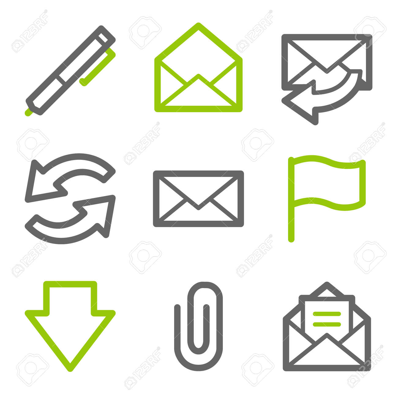 E-mail web icons, green and gray contour series Stock Vector - 4437097