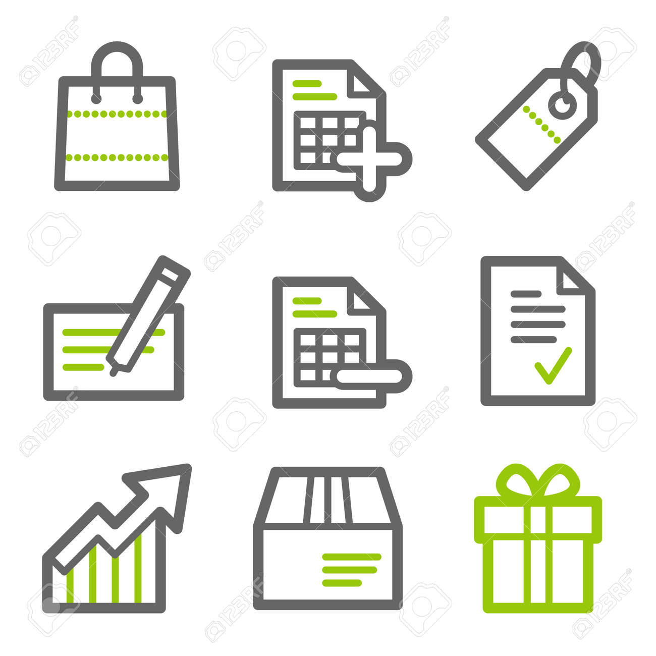 Shopping web icons, green and gray contour series Stock Vector - 4437126