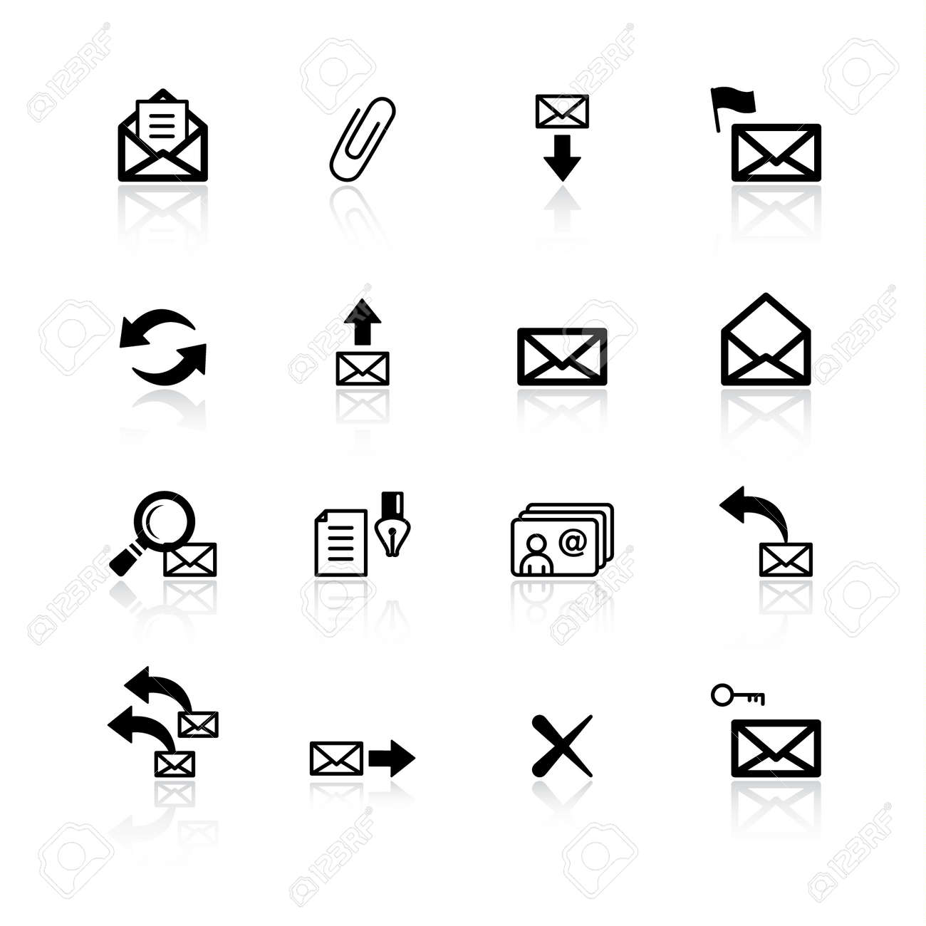 black e-mail icons Stock Vector - 4492942