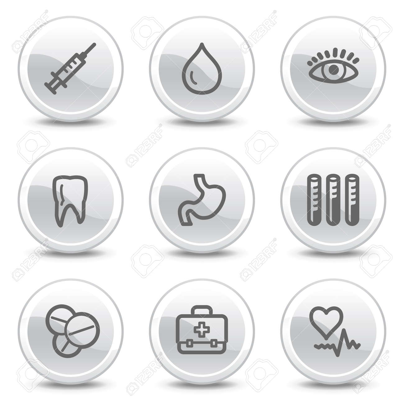 Medicine web icons, white glossy circle buttons series Stock Vector - 4854711