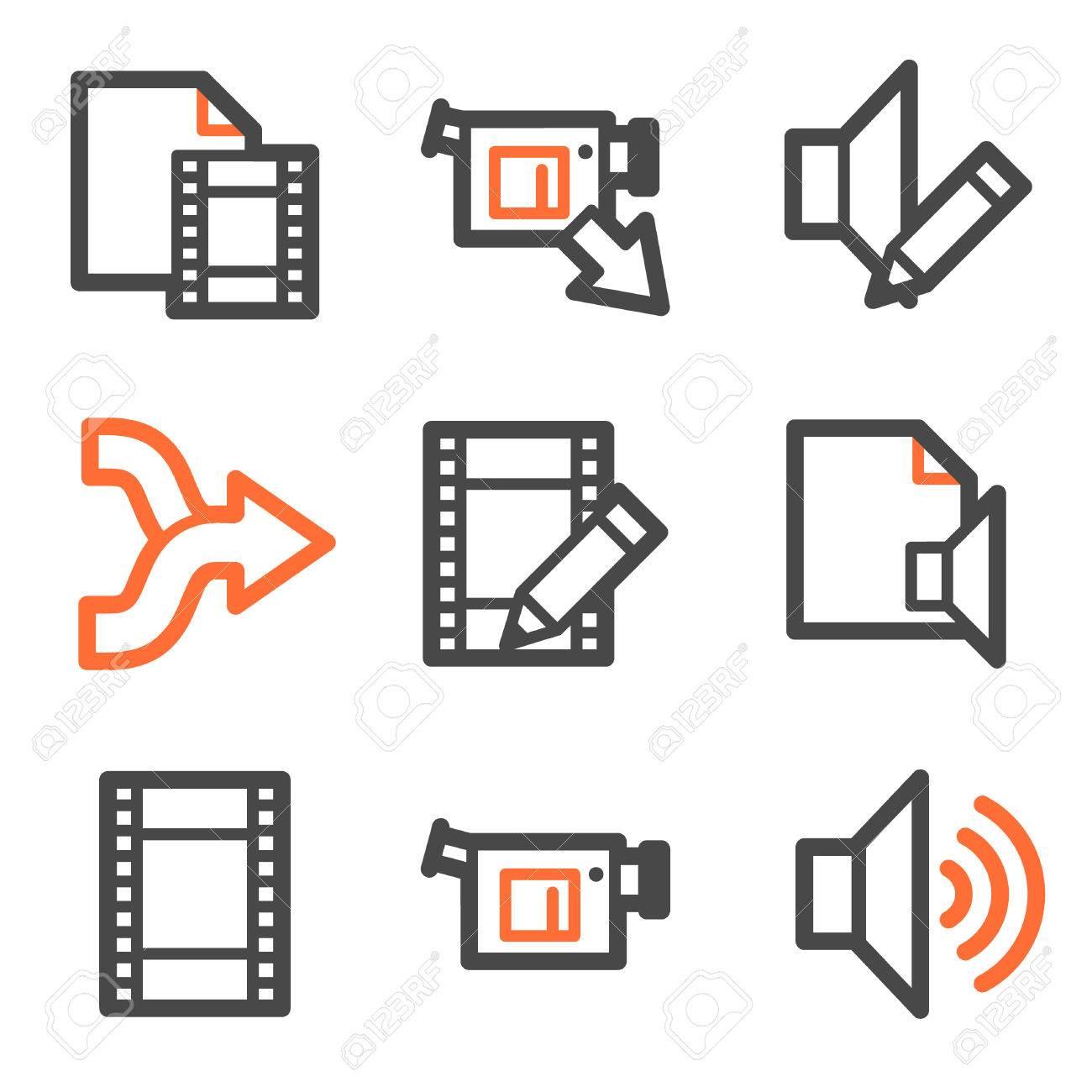 Audio video edit web icons orange and gray contour series royalty audio video edit web icons orange and gray contour series stock vector 5042194 ccuart Images