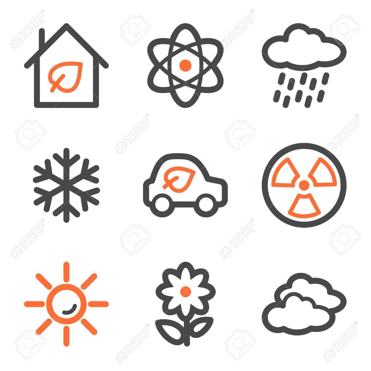 Ecology web icons set 2, orange and gray contour series Stock Vector - 5042227
