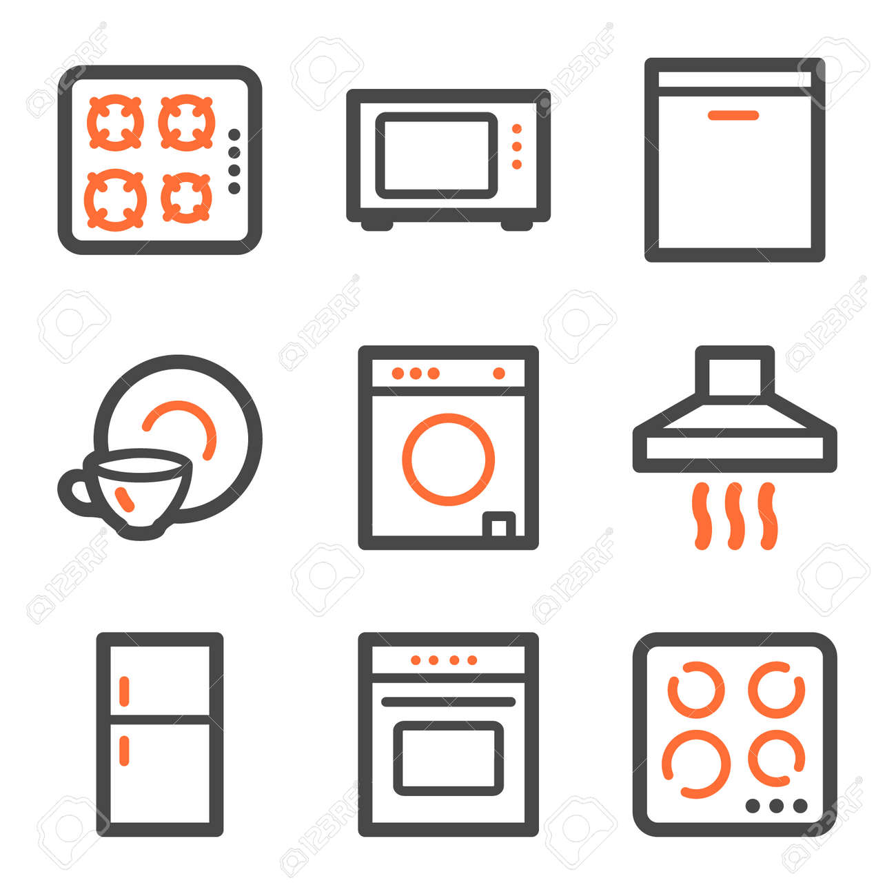 Home appliances web icons, orange and gray contour series Stock Vector - 5042220