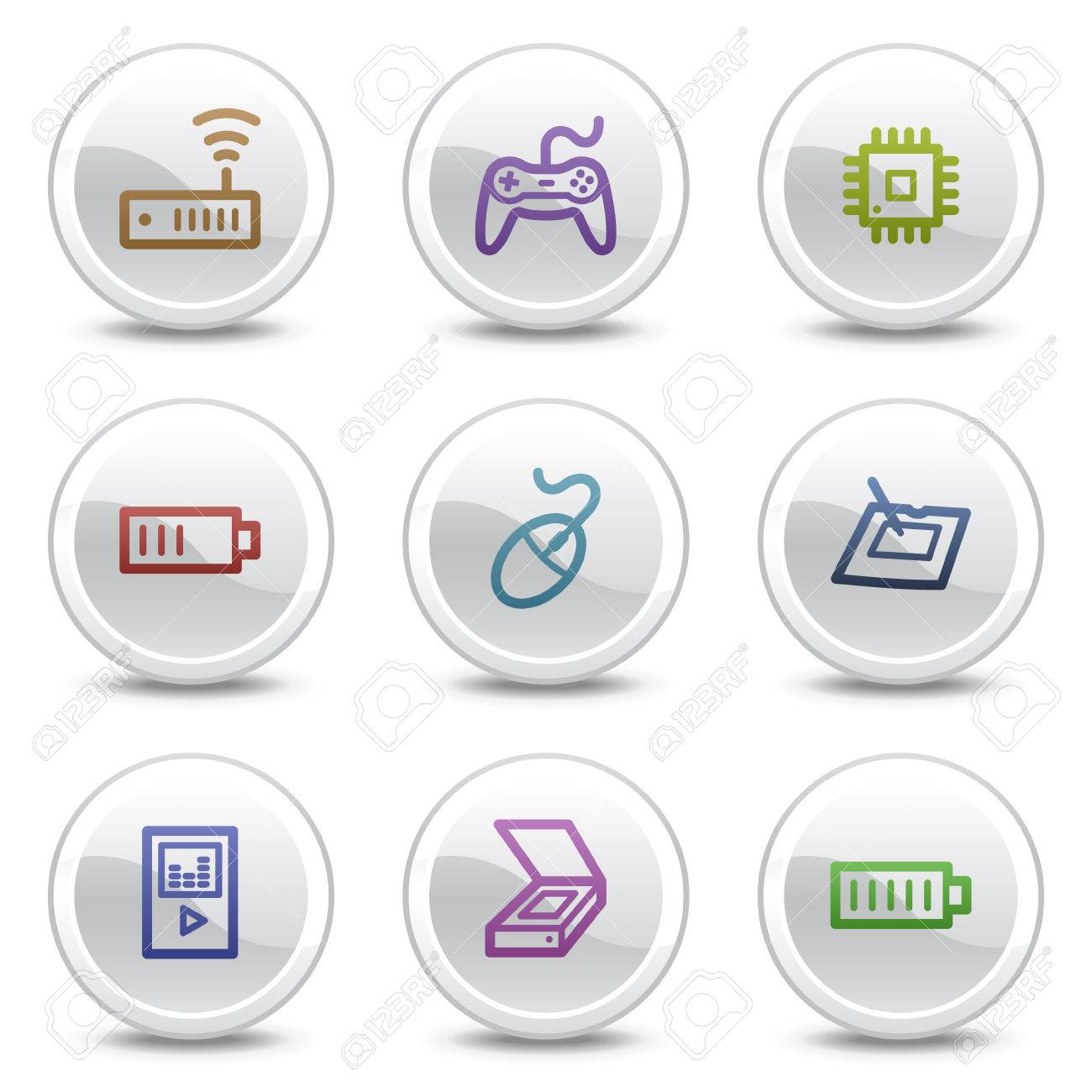 Electronics web colour icons set 2, white circle buttons series Stock Vector - 5243680