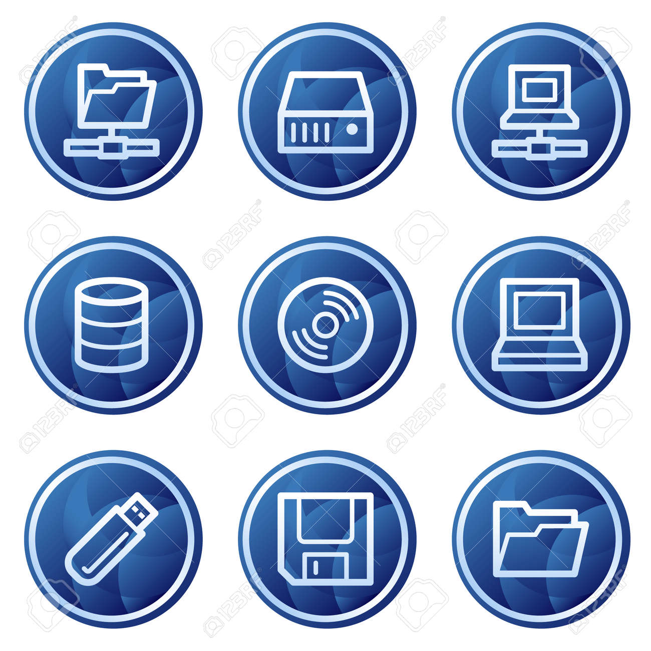 Drives and storages web icons, blue circle buttons series Stock Vector - 5295971