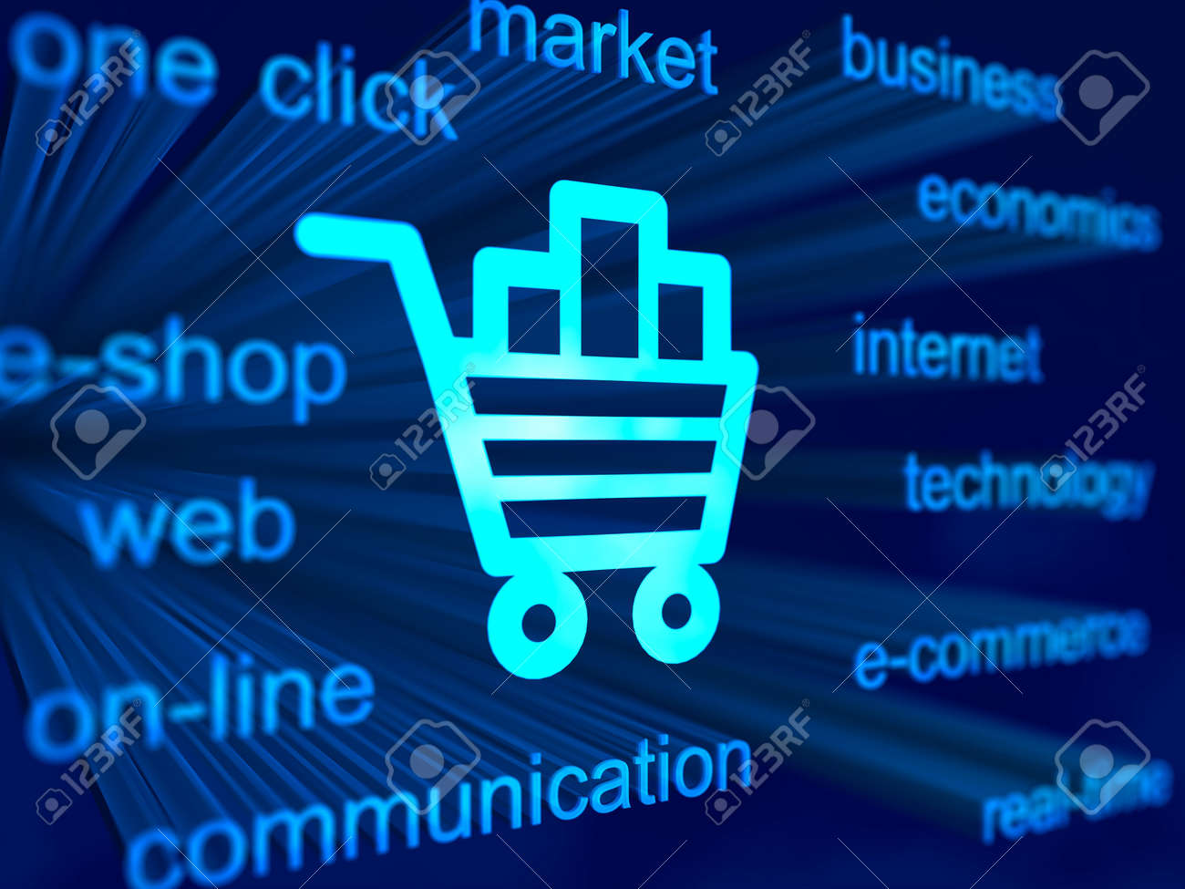3D blue background with cart icon Stock Photo - 5414518