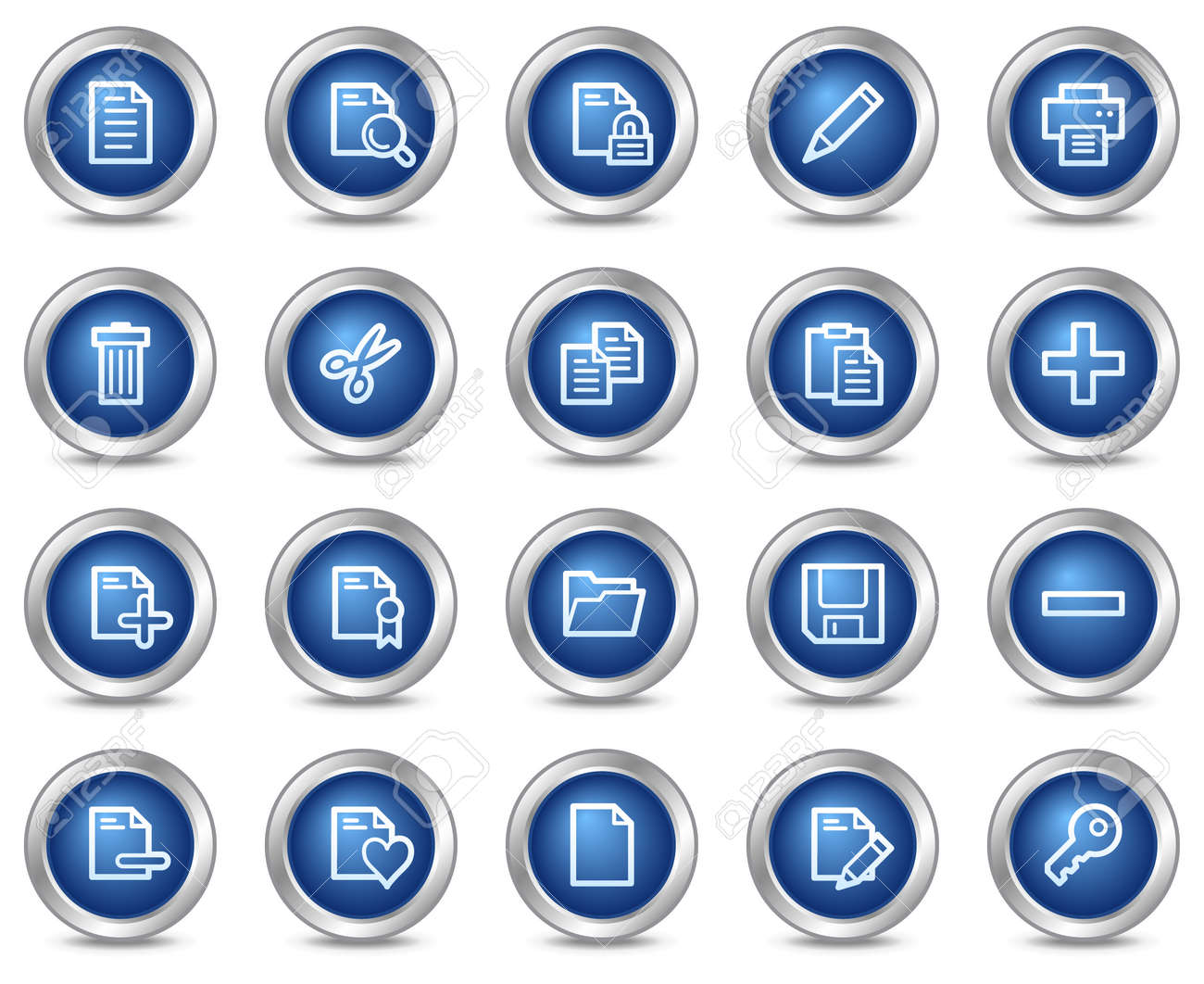 Document web icons, blue circle buttons series Stock Vector - 5584542