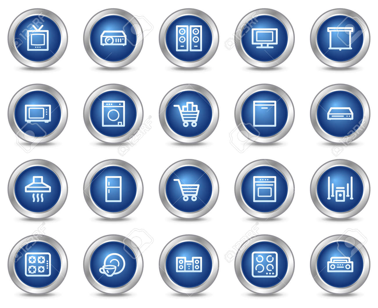 Home appliances web icons, blue circle buttons series Stock Vector - 5584561