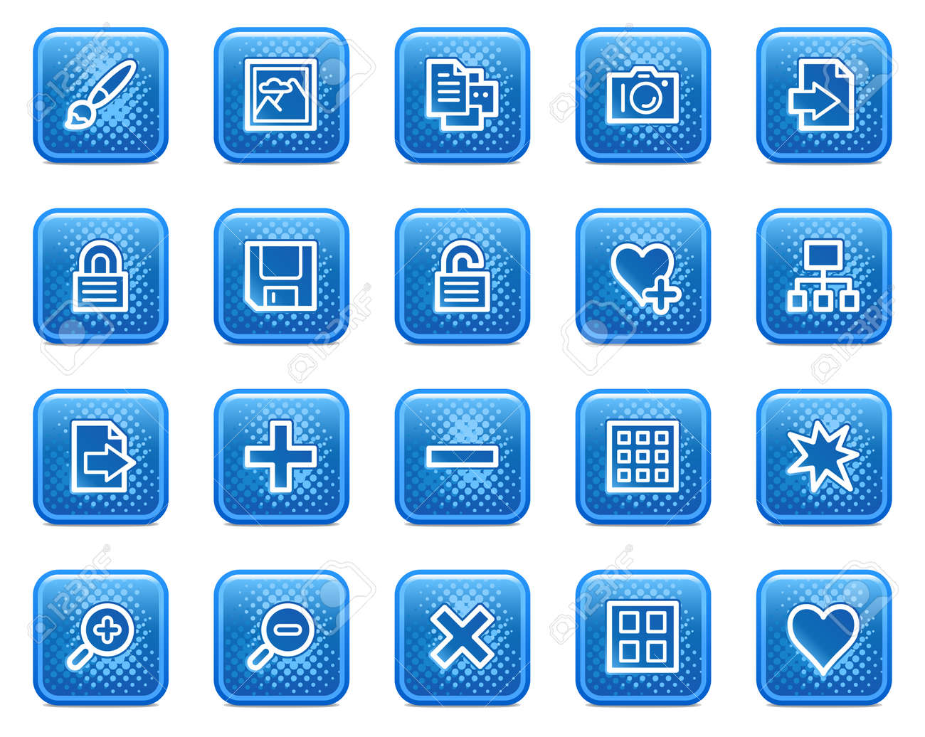 Image library web icons, blue square buttons with dots Stock Vector - 5584557