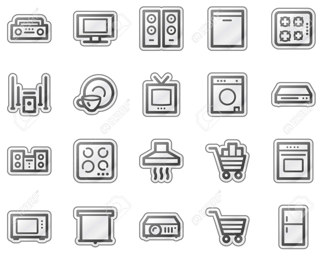 Home appliances web icons, grey sticker series Stock Vector - 5657155