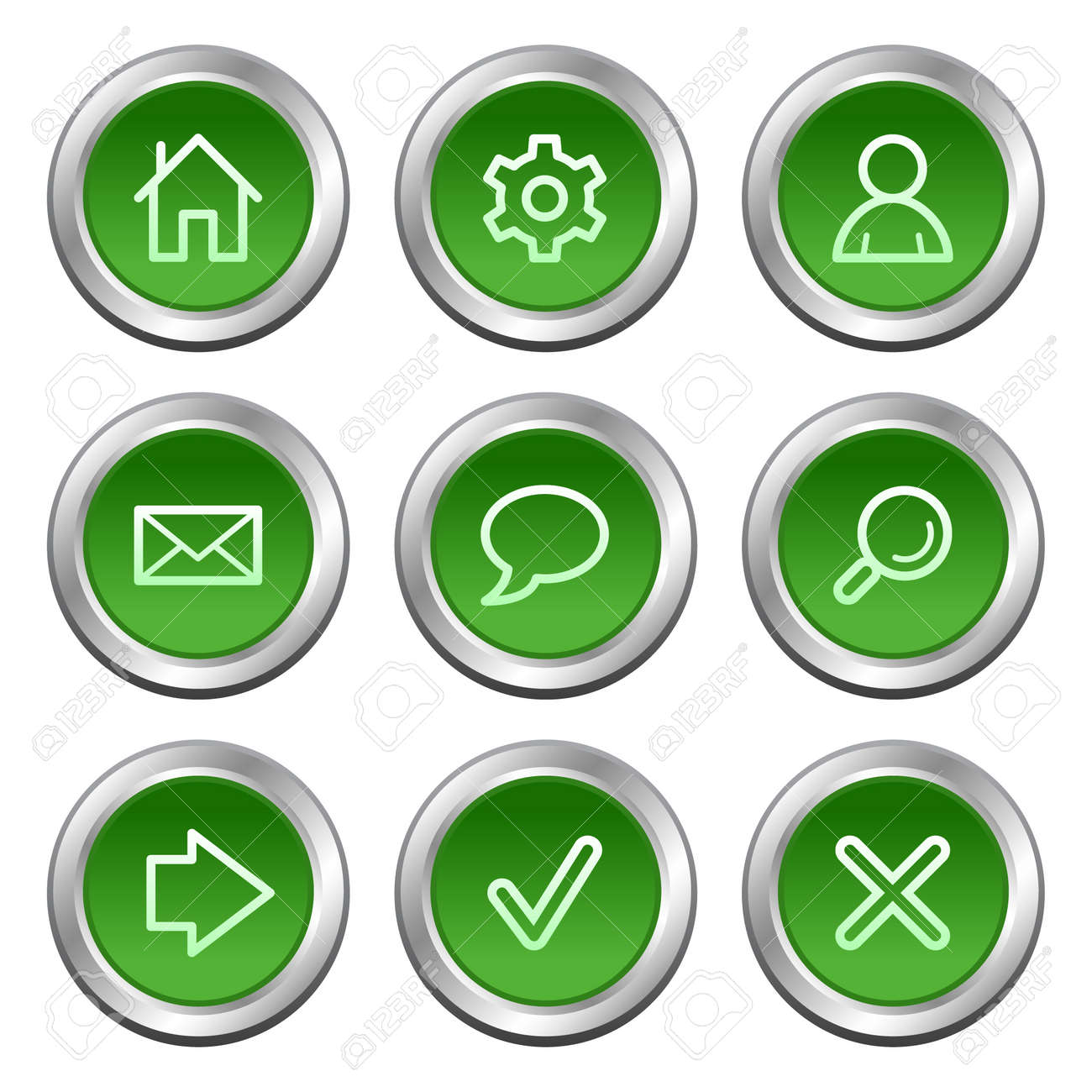 Basic web icons, green circle buttons series Stock Vector - 5657164