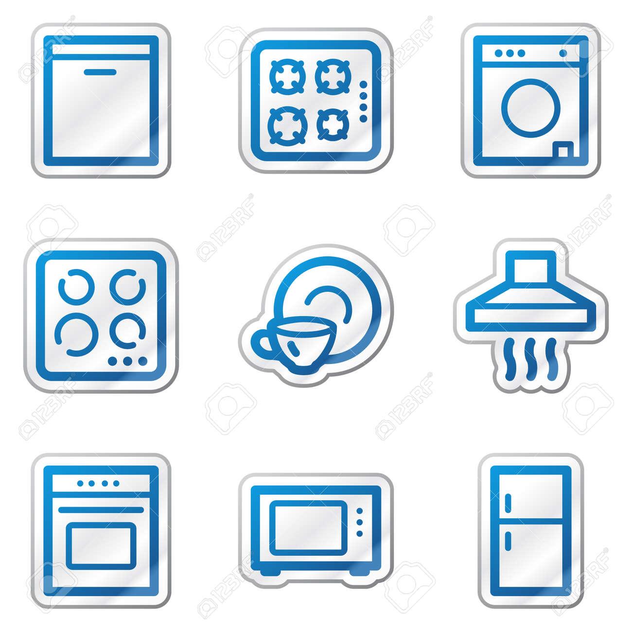 Home appliances web icons, blue contour sticker series Stock Vector - 5847125