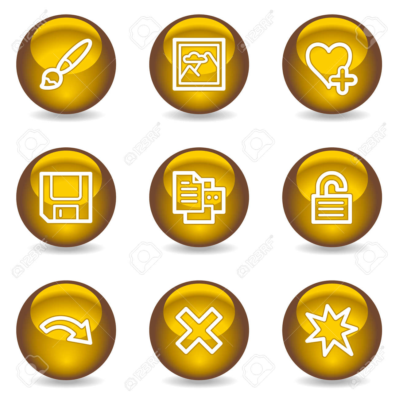 Image viewer web icons set 2, gold glossy series Stock Vector - 6046823