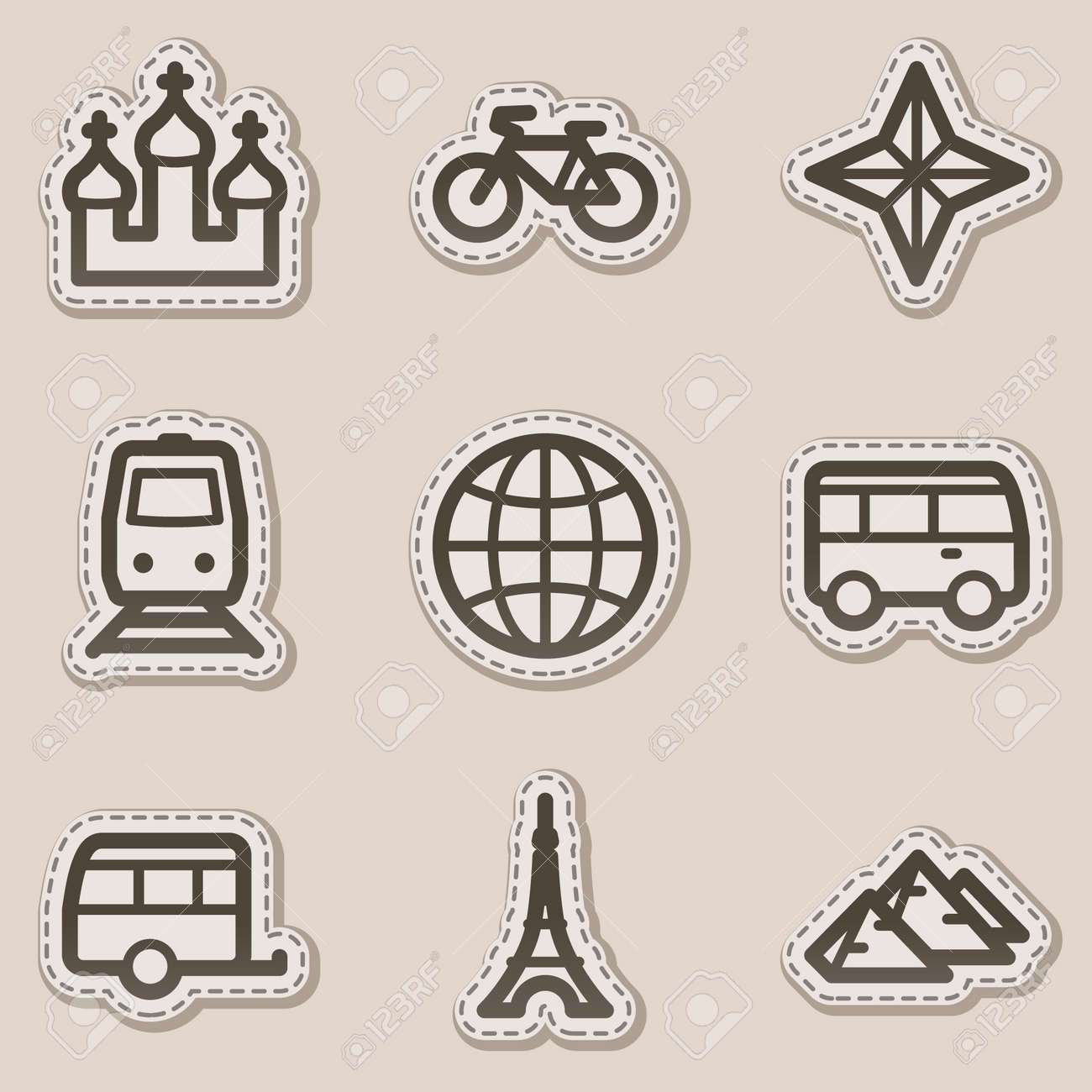 Travel web icons set 2, brown contour sticker series Stock Vector - 6046740