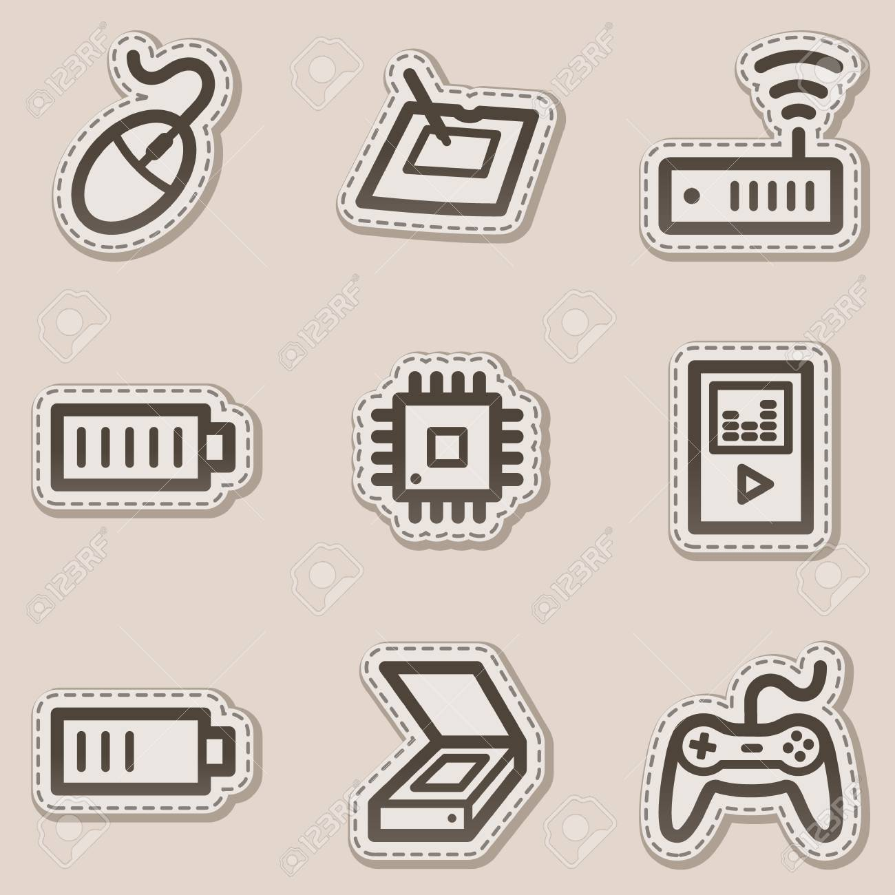 Electronics web icons set 2, brown contour sticker series Stock Vector - 6046741