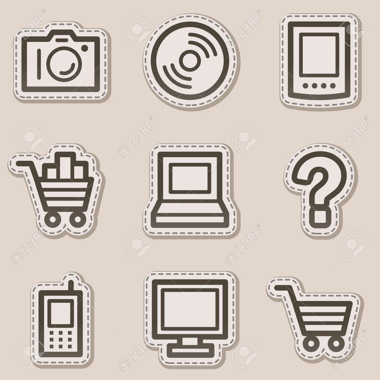 Electronics web icons set 1, brown contour sticker series Stock Vector - 6046712