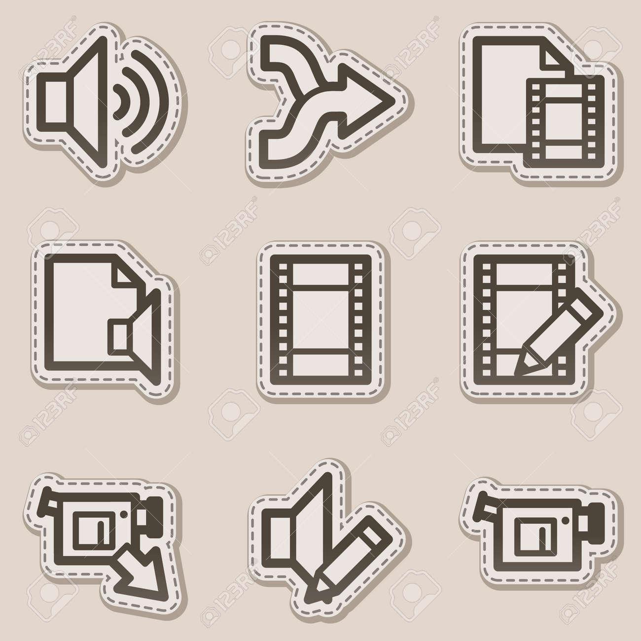Audio video edit web icons brown contour sticker series royalty audio video edit web icons brown contour sticker series stock vector 6046737 ccuart Images
