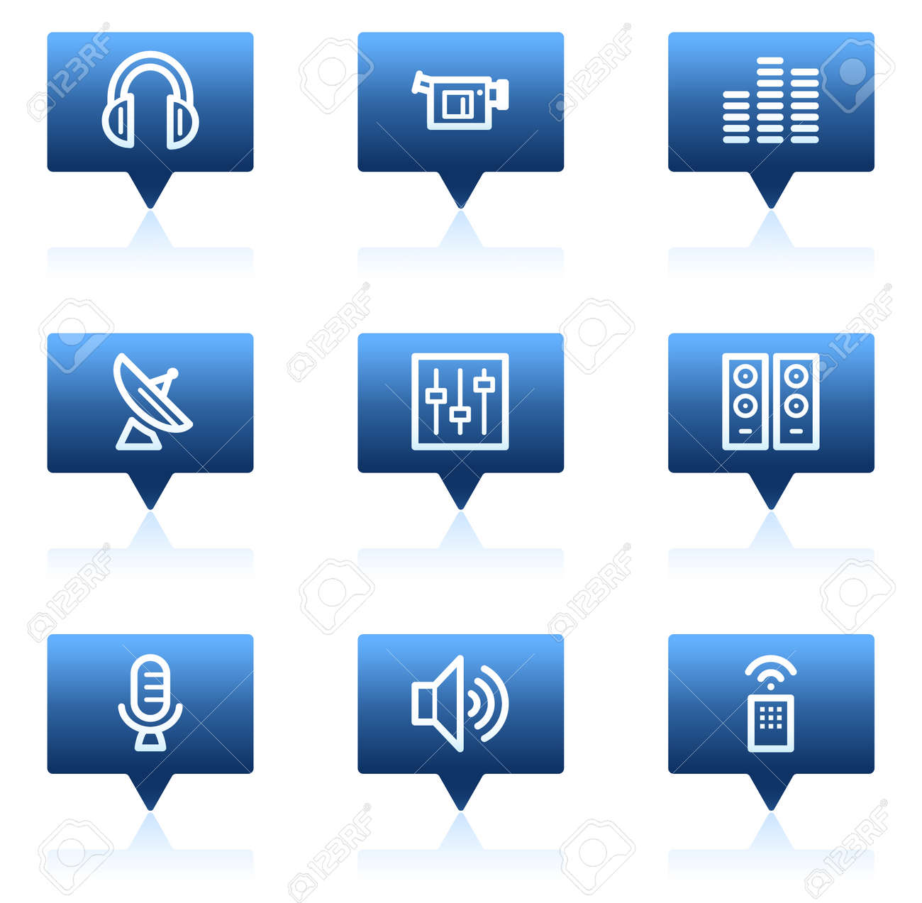 Media web icons, blue speech bubbles series Stock Vector - 6046684