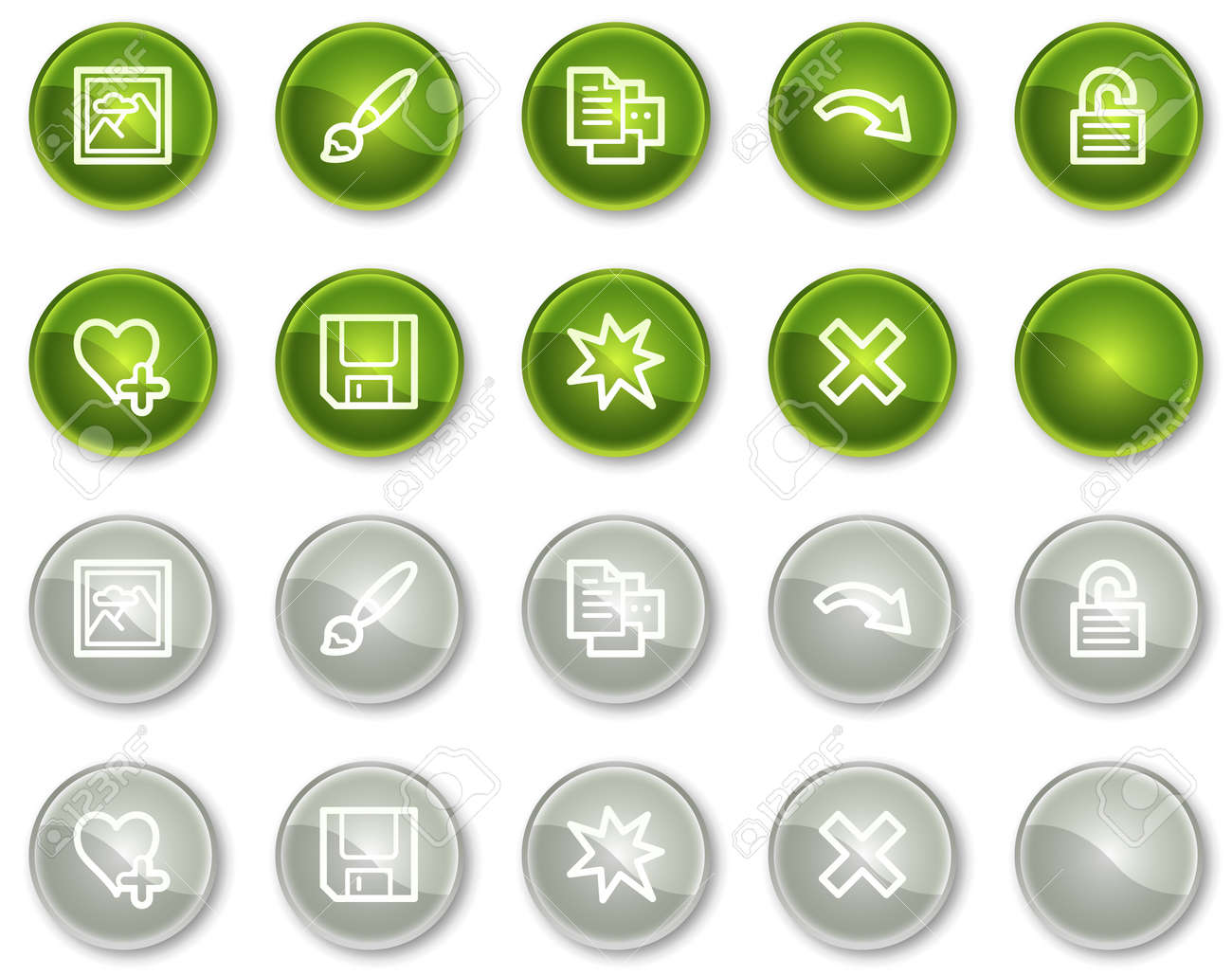 Image viewer web icons set 2, green and grey circle buttons series Stock Vector - 6046936