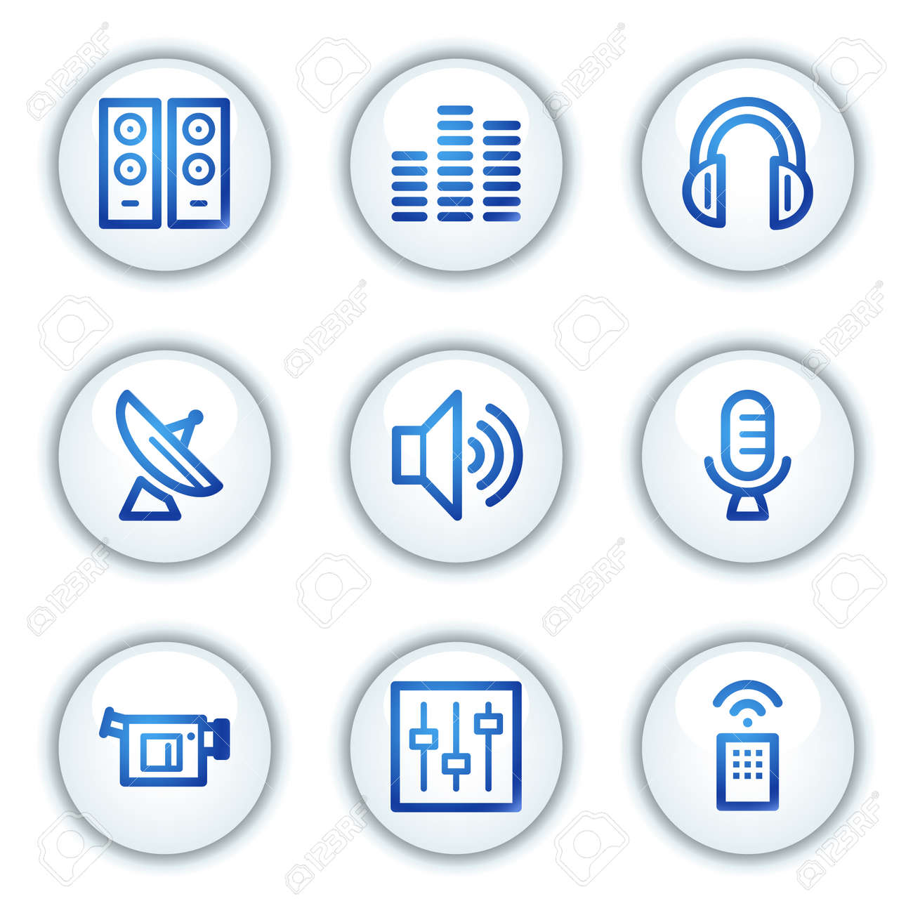 Media web icons, white circle buttons series Stock Vector - 6046899