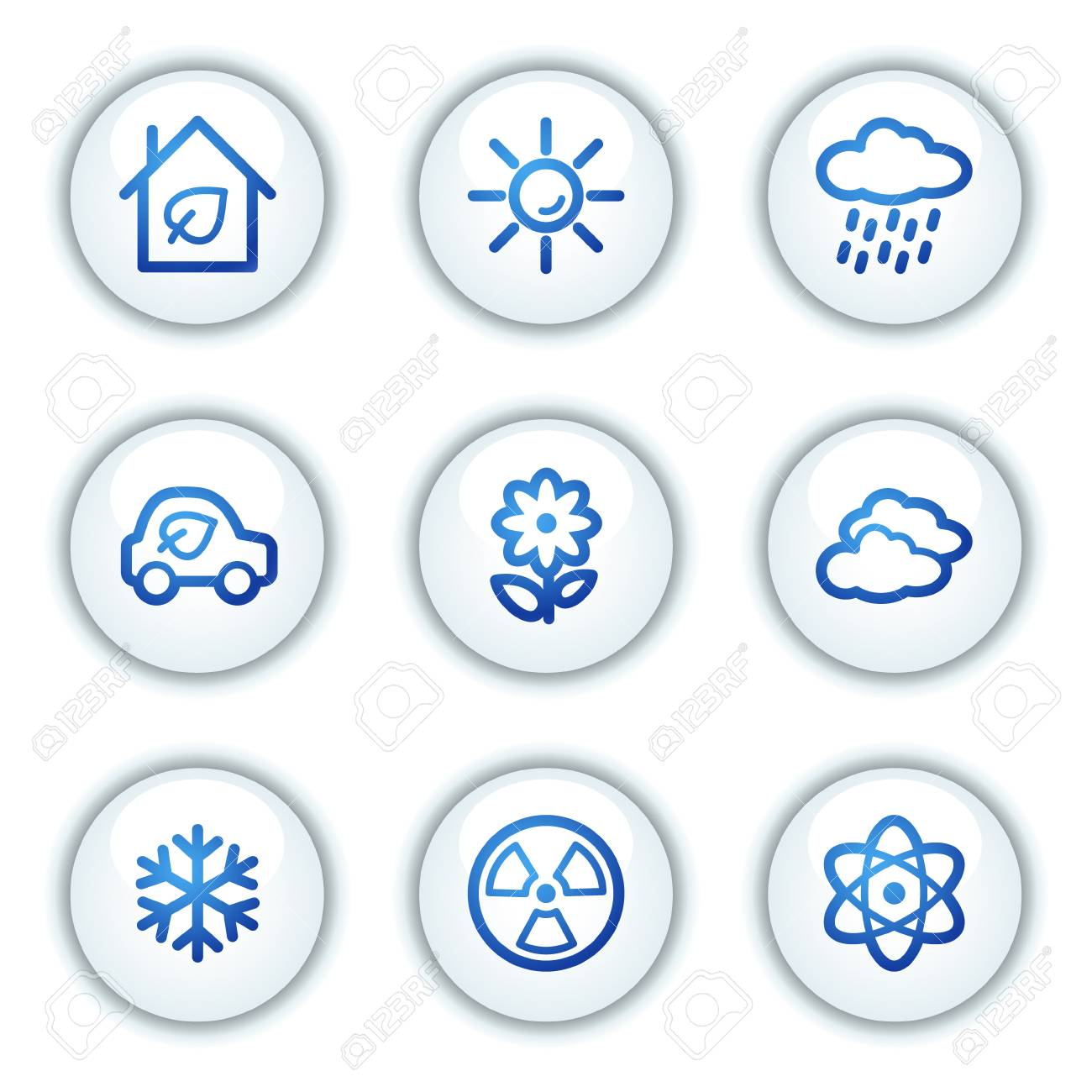 Ecology web icons set 2, white circle buttons series Stock Vector - 6046909