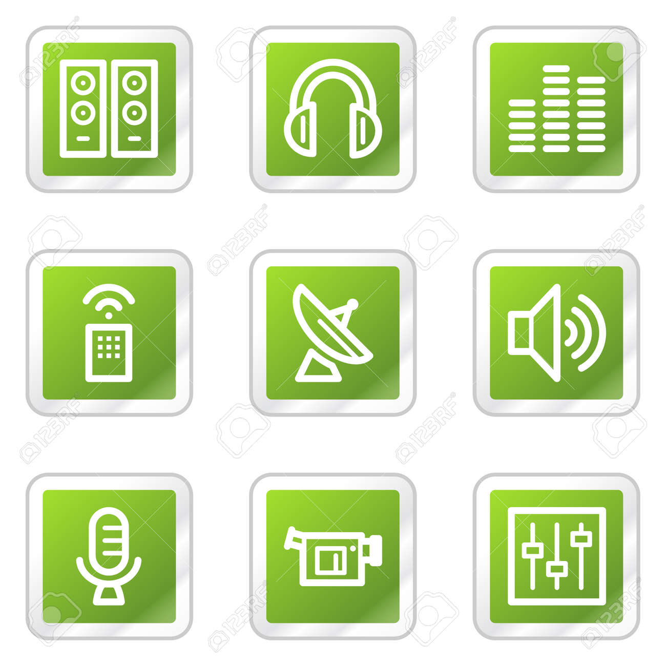 Media web icons, green square sticker series Stock Vector - 6169912