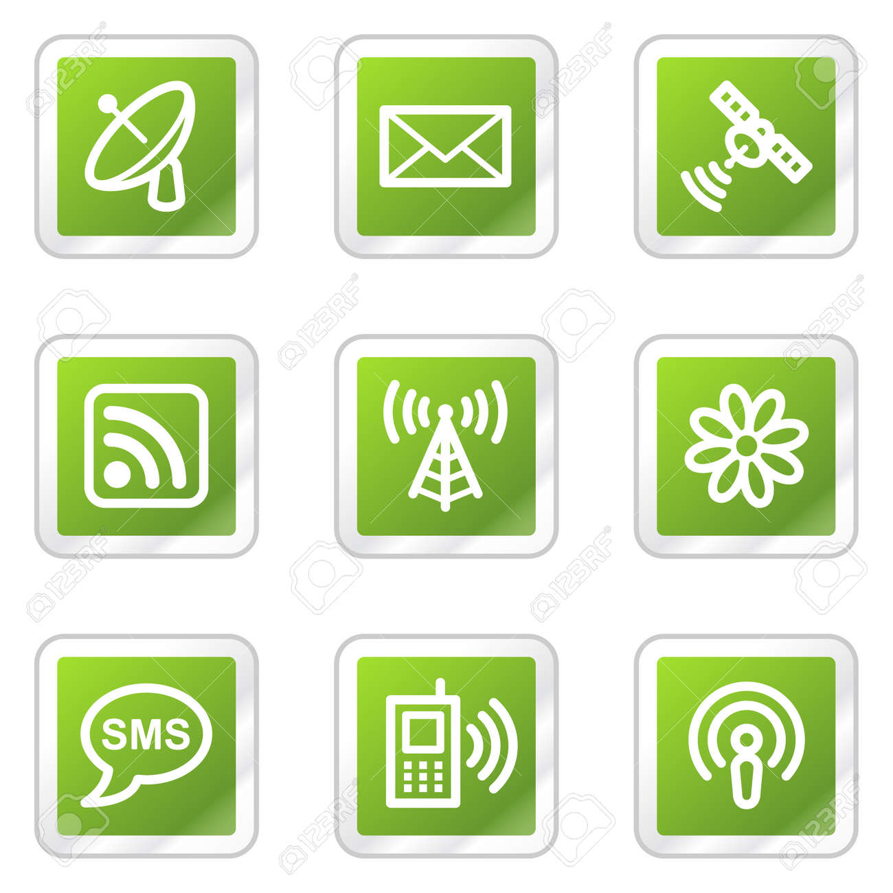 Communication web icons, green square sticker series Stock Vector - 6169916