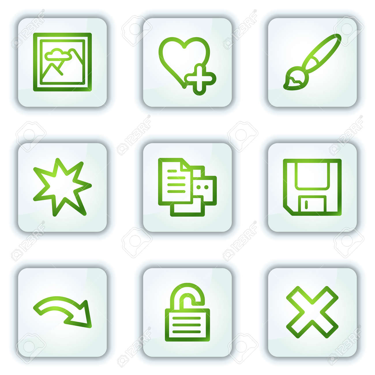 Image viewer web icons set 2, white square buttons series Stock Vector - 6222644